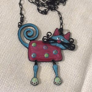 Jewelry - 💕 HOST PICK 💕 Enameled DANGLE CAT NECKLACE